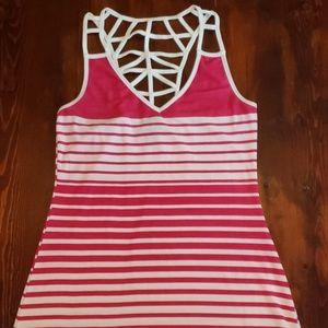 🦋 {Dots} High-low Pink & White Dress Medium